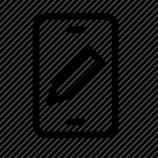 device, edit, mobile, note, pencil, phone, write icon