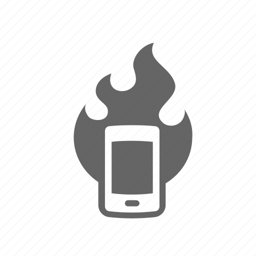breaking, cellphone, flame, hot, mobile, overheating, superheat icon