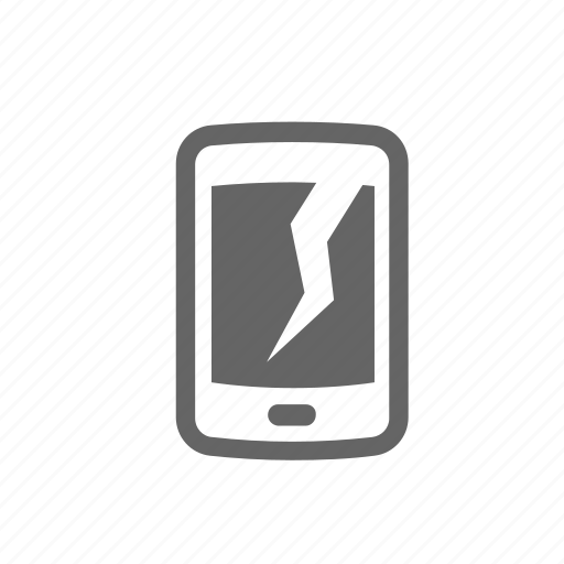 break, cleft, crack, display, mobile, screen, split icon