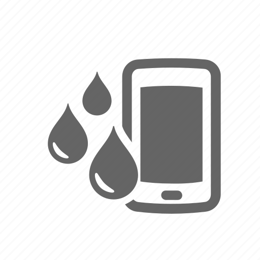 drop, drowned, liquid, mobile, phone, water, wet icon