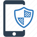 mobile, phone, protection, safe, security, shield, smartphone icon