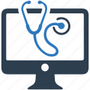 computer, desktop, protection, stethoscope, treatment icon