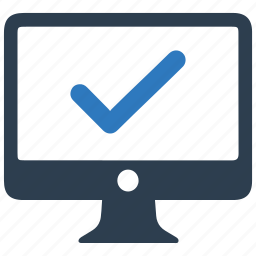 checkmark, computer, desktop, pc, protected, secure icon