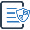 document, file, important document, protection, security, shield icon