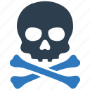 crossbone, danger, death, disaster, hazard, skeleton, skull icon