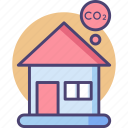 carbon, construction, ecofriendly, emission, footprint, house, property icon