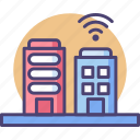architecture, buildings, business, construction, office, smart, technology icon