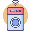 electronics, laundry, machine, network, smart, technology, washing icon