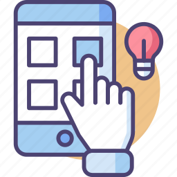 app, bulb, mobile, screen, smart, smartphone, working icon