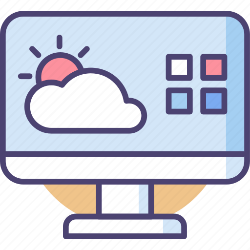 climate, clouds, forecast, prediction, screen, sun, weather icon
