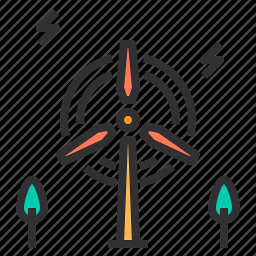 electronic, energy, home, smart, technology, wind icon