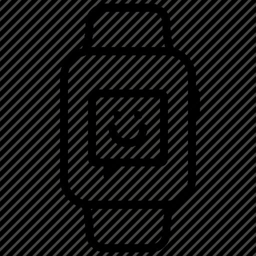 emoji, emoticon, expression, face, smile, smiley, watch icon