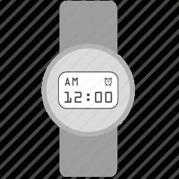clock, design, digital, gray, modern, round, smart icon
