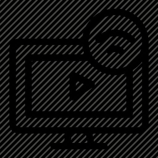 device, entertainment, menu, screen, smart tv, television, transmission icon