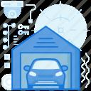 automobile, car, garage, home, house, transportation, vehicle