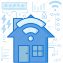 connection, home, house, password, smart, wifi, wireless icon