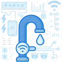 control, plumbing, smarthome, smartphone, tap, water, wireless icon