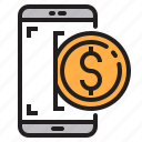 app, application, dollar, mobile, phone, smartphone icon