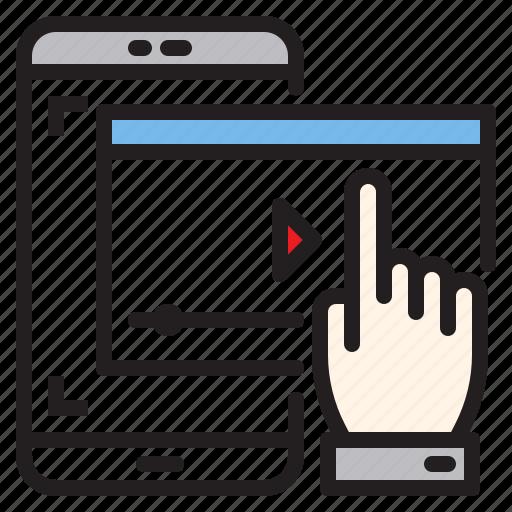 app, application, mobile, phone, play, smartphone, vdo icon