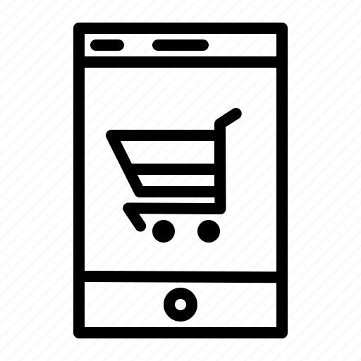 application, mobile, mobile application, shopping, shopping application, shopping cart, smartphone icon