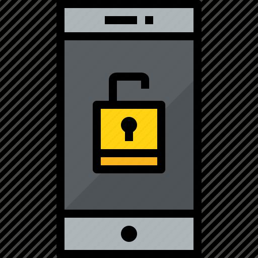 commnication, device, smartphone, technology, unlock icon