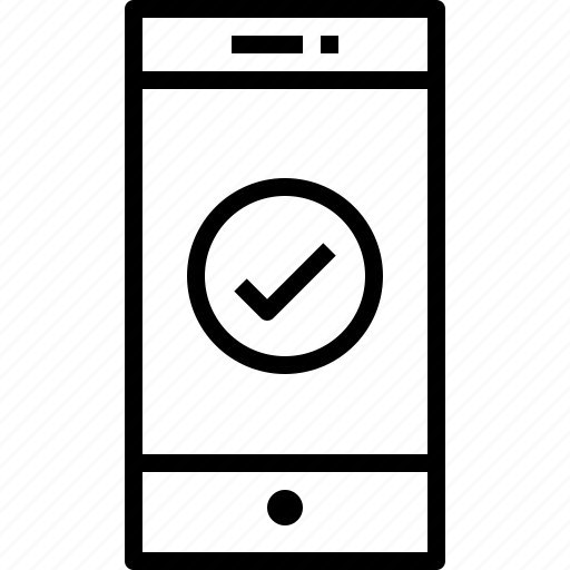 check, communication, device, smartphone, technology icon