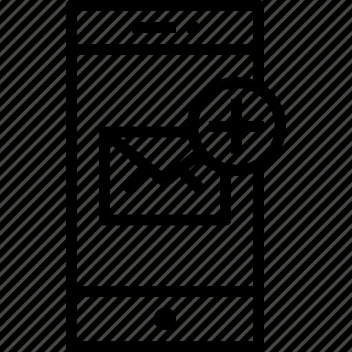 add, communication, device, mail, smartphone, technology icon