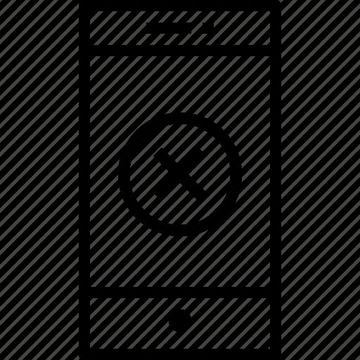 communication, device, smartphone, technology, x icon