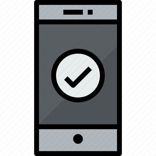 check, commnication, device, smartphone, technology icon