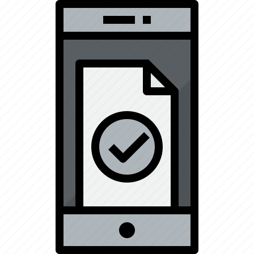 check, commnication, device, doc, smartphone, technology icon