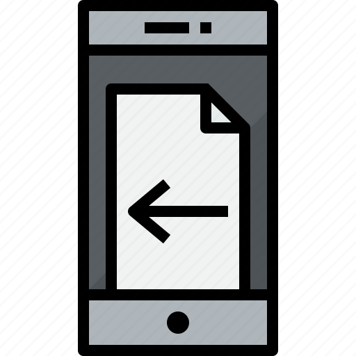 commnication, device, doc, left, smartphone, technology icon