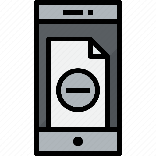 commnication, device, doc, remove, smartphone, technology icon