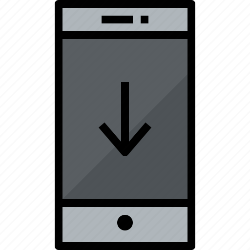 commnication, device, down, smartphone, technology icon