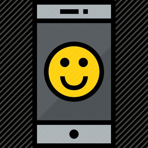 commnication, device, emotion, smartphone, technology icon