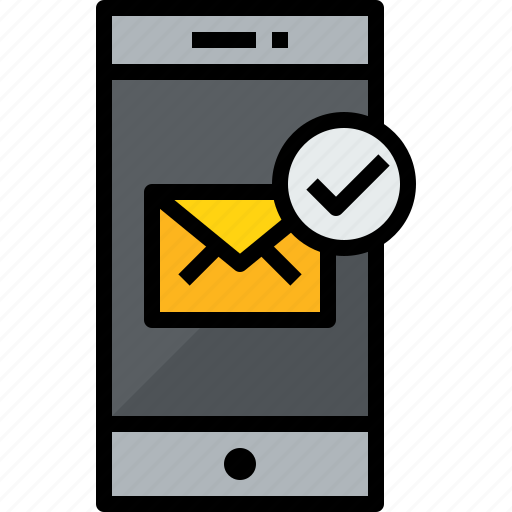 check, commnication, device, mail, smartphone, technology icon