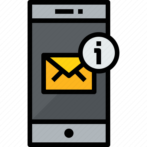 commnication, device, mail, notice, smartphone, technology icon