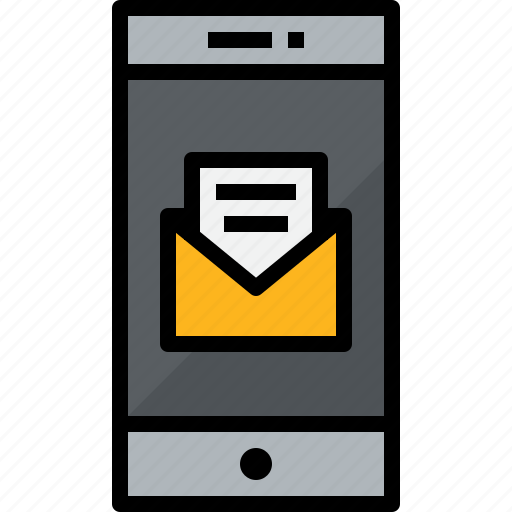 commnication, device, mail, open, smartphone, technology icon