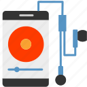 headset, media, music, player, playing, smartphone icon