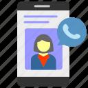 calling, customer service, profile, smartphone icon