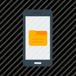 data, document, download, folder, mobile, screen, smartphone icon