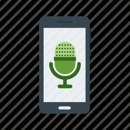 listen, microphone, music, online, smartphone, sound, technology icon