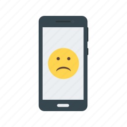 expression, face, mobile, phone, sad, screen, smartphone icon