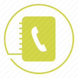 book, call, contact, log, note, phone, telephone icon