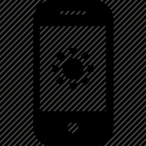 brightness, device, gadget, mobile, smartphone, sun icon