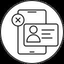 failed, smartphone, verification, mobile, phone icon