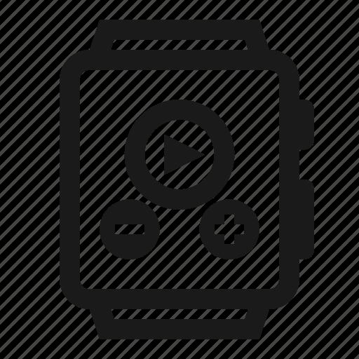 interface, music, player, smartwatch, watch icon