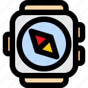 navigation, location, compass, directions, exploring, watch, smart icon