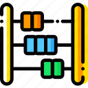 abacus, baby, child, toy, yellow icon