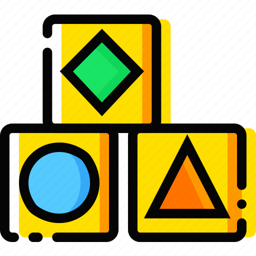 baby, child, cubes, toy, yellow icon