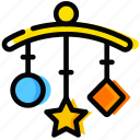child, clinkers, sleep, toy, yellow icon